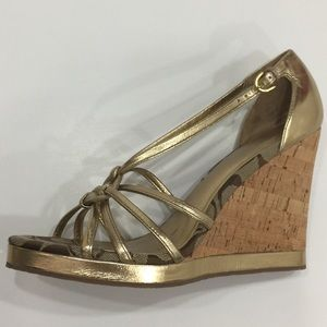 New Arrival✨Coach Gold Wedge Sandals